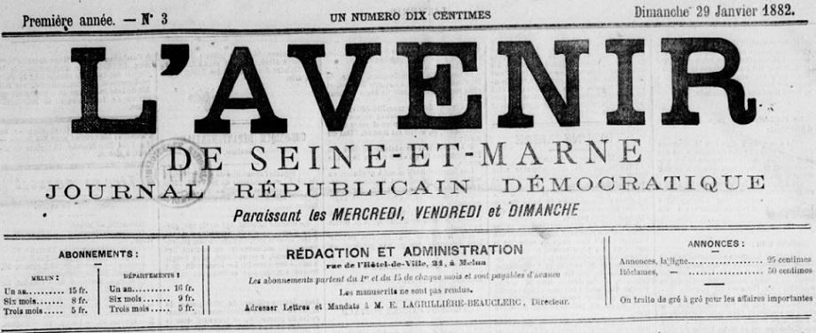 Photo (BnF / Gallica) de : L'Avenir de Seine-et-Marne. Melun, 1882-1894. ISSN 2121-5421.