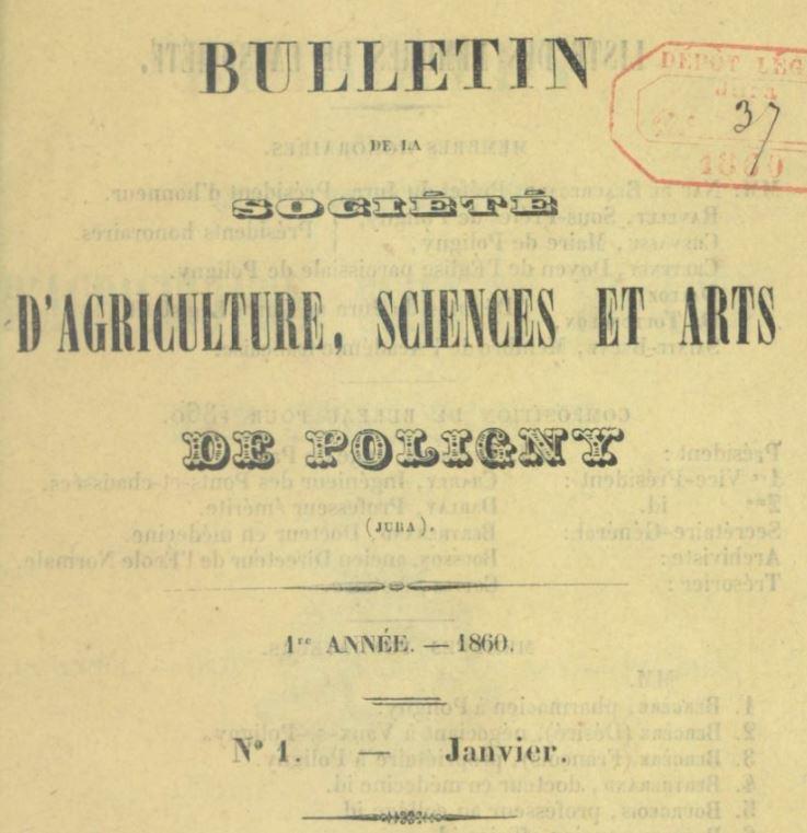 Photo (BnF / Gallica) de : Bulletin de la Société d'agriculture, sciences et arts de Poligny (Jura). Poligny, 1860-1903. ISSN 2016-3207.