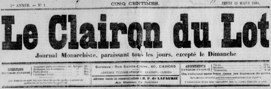 Photo (BnF / Gallica) de : Le Clairon du Lot. Cahors, 1886-1890. ISSN 2016-6850.