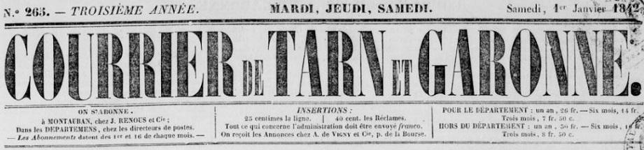 Photo (BnF / Gallica) de : Courrier de Tarn-et-Garonne. Montauban, 1840-1904. ISSN 2016-8128.