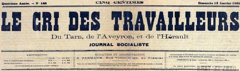 Photo (BnF / Gallica) de : Le Cri des travailleurs. Carmaux, 1919-1925. ISSN 2125-0936.