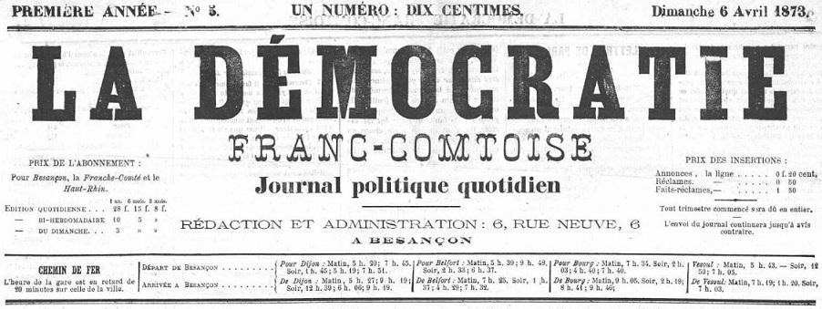Photo (Bibliothèque municipale (Besançon)) de : La Démocratie franc-comtoise. Besançon, 1873-1889. ISSN 2125-6926.