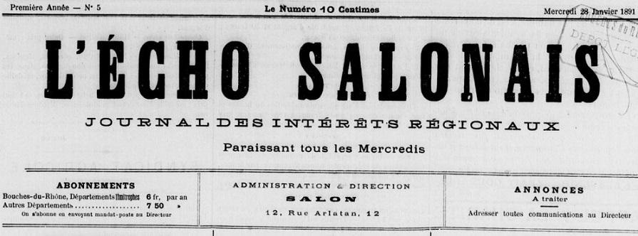 Photo (BnF / Gallica) de : L'Écho salonais. Salon-de-Provence, 1890-1892. ISSN 2126-7804.