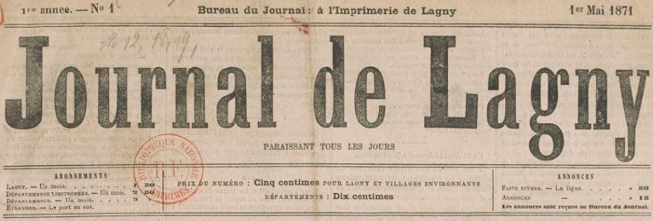 Photo (BnF / Gallica) de : Journal de Lagny. Lagny, 1871. ISSN 2130-4742.