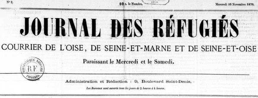 Photo (BnF / Gallica) de : Journal des réfugiés. Paris, 1870-1871. ISSN 2681-4307.