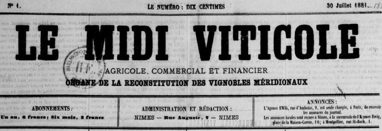 Photo (BnF / Gallica) de : Le Midi viticole. Nîmes, 1881-1882. ISSN 2132-2686.