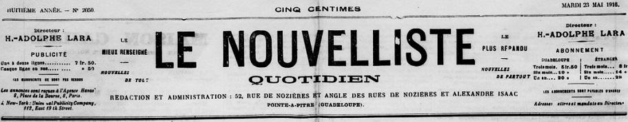 Photo (BnF / Gallica) de : Le Nouvelliste. Pointe-à-Pitre, 1909-1965. ISSN 2427-853X.
