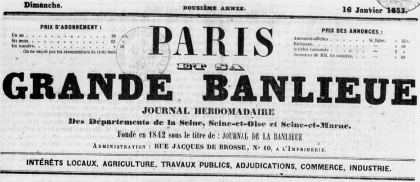 Photo (BnF / Gallica) de : Paris et sa grande banlieue. Paris, 1853-[1857 ?]. ISSN 2608-7685.