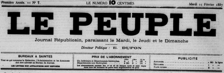Photo (BnF / Gallica) de : Le Peuple. Saintes, 1887-1939. ISSN 2134-8162.