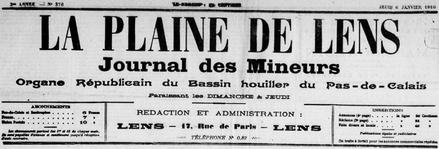 Photo (BnF / Gallica) de : La Plaine de Lens. Lens, 1907-1914. ISSN 2135-0248.