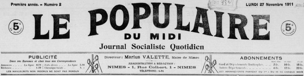 Photo (BnF / Gallica) de : Le Populaire du Midi. Nîmes, 1911-1914. ISSN 2135-1406.