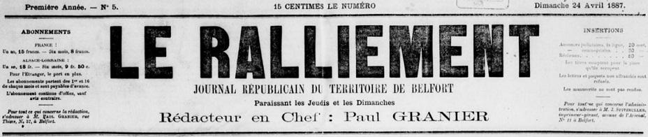 Photo (BnF / Gallica) de : Le Ralliement. Belfort, 1887-1908. ISSN 2135-9016.