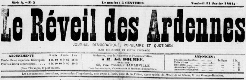 Photo (BnF / Gallica) de : Le Réveil des Ardennes. Charleville, 1881-1886. ISSN 2019-2681.