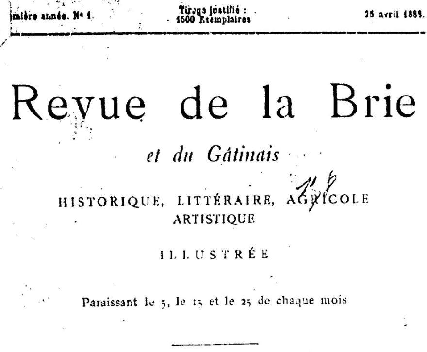 Photo (BnF / Gallica) de : Revue de la Brie et du Gâtinais. Paris, 1888-[18..?]. ISSN 2494-6303.