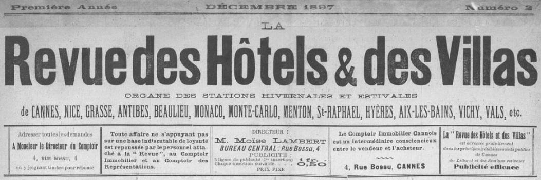 Photo (BnF / Gallica) de : La Revue des hôtels et des villas. Cannes, 1897-1898. ISSN 2494-8063.