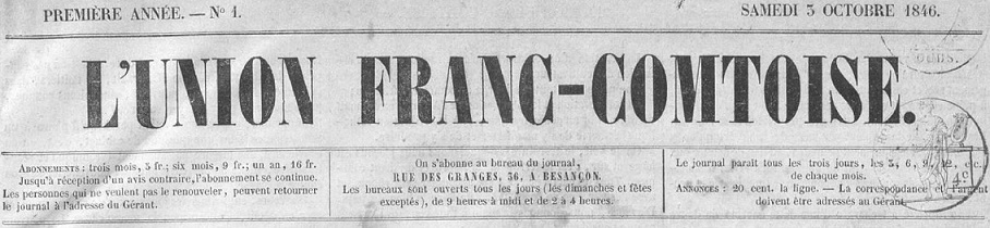 Photo (Bibliothèque municipale (Besançon)) de : L'Union franc-comtoise. Besançon, 1846-1887. ISSN 2024-4789.
