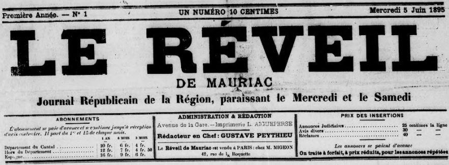 Photo (BnF / Gallica) de : Le Réveil de Mauriac. Mauriac, 1895-1907. ISSN 1148-4772.