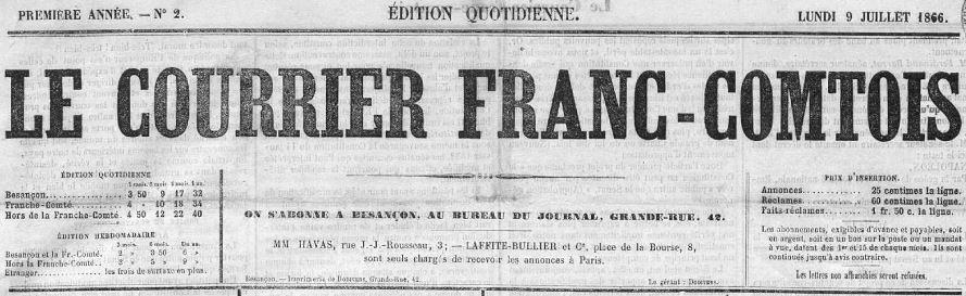 Photo (Bibliothèque municipale (Besançon)) de : Le Courrier franc-comtois. Besançon, 1866-1887. ISSN 1166-8792.