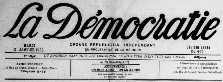 Photo (BnF / Gallica) de : La Démocratie. Saint-Denis-de-La-Réunion, Saint-Pierre, 1933-1970. ISSN 1257-2144.