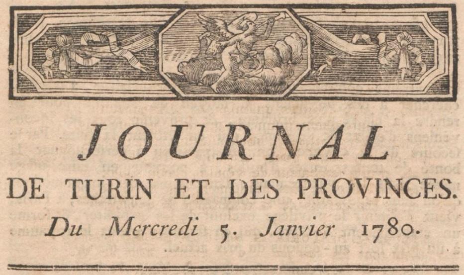 Photo (BnF / Gallica) de : Journal de Turin et des provinces. , 1780-1781. ISSN 1123-3222.