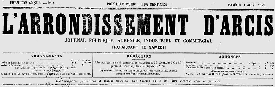 Photo (Aube. Archives départementales) de : L'Arrondissement d'Arcis. Arcis-sur-Aube, 1872-1895. ISSN 2261-6675.