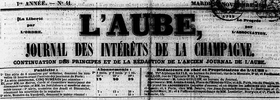 Photo (Aube. Archives départementales) de : L'Aube. Troyes, 1839-1890. ISSN 2261-7787.