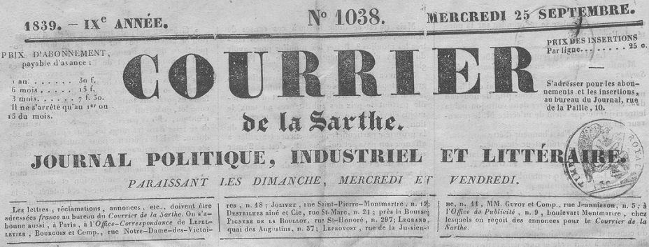 Photo (Indre-et-Loire. Archives départementales) de : Le Courrier de la Sarthe. Le Mans, 1831-1869. ISSN 2124-7625.