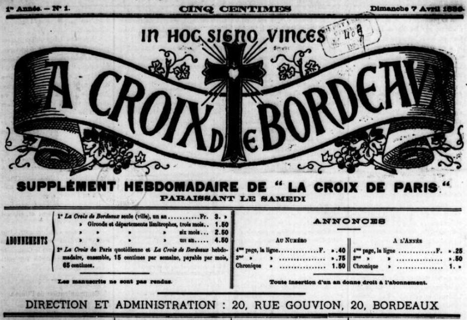Photo (BnF / Gallica) de : La Croix de Bordeaux. Bordeaux, 1889-1893. ISSN 2125-2033.
