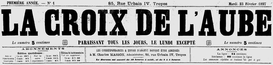 Photo (Aube. Archives départementales) de : La Croix de l'Aube. Troyes, 1897-1908. ISSN 2111-3300.