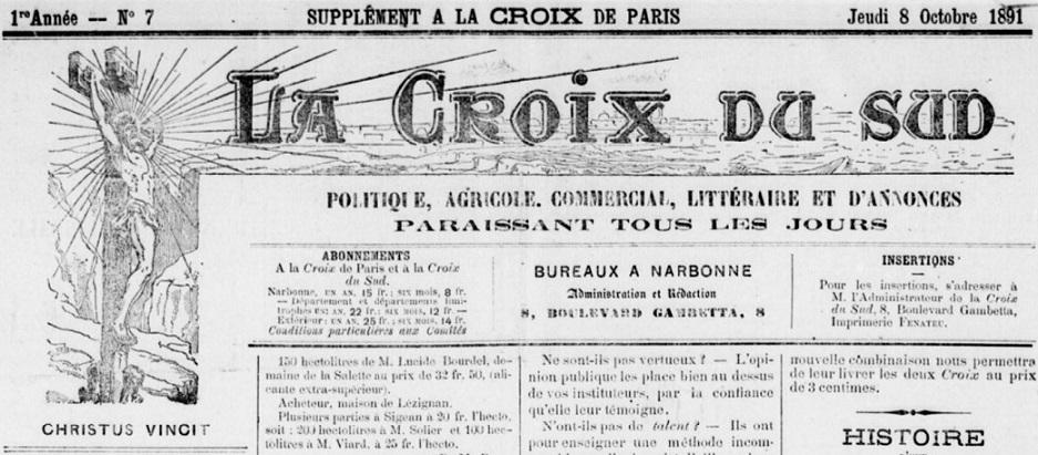 Photo (BnF / Gallica) de : La Croix du Sud. Narbonne, 1891-1895. ISSN 2125-3110.