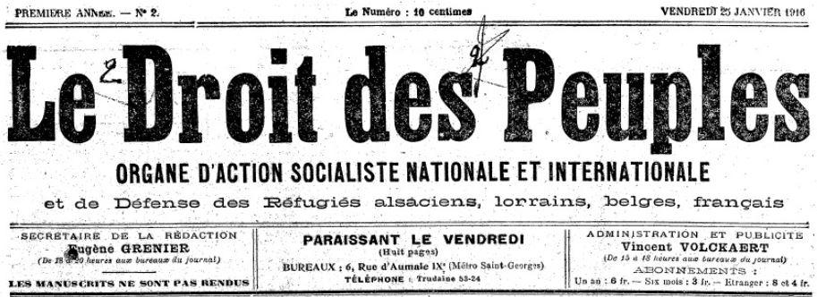 Photo (BnF / Gallica) de : Le Droit des peuples. Paris, 1918. ISSN 2113-6009.
