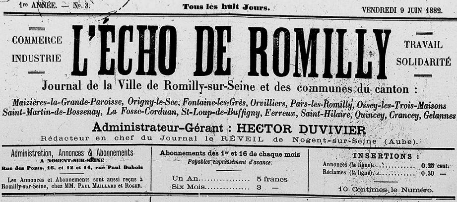 Photo (Aube. Archives départementales) de : L'Écho de Romilly. Nogent-sur-Seine, 1882-1889. ISSN 2263-1585.