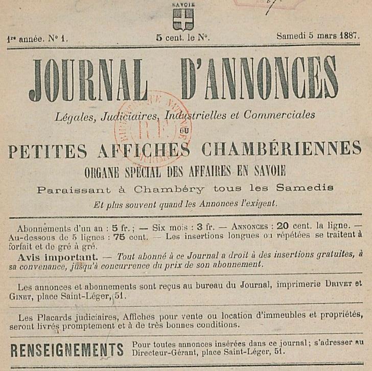 Photo (BnF / Gallica) de : Journal d'annonces légales, judiciaires, industrielles et commerciales ou Petites affiches chambériennes. Chambéry, 1887-1891. ISSN 2130-1964.