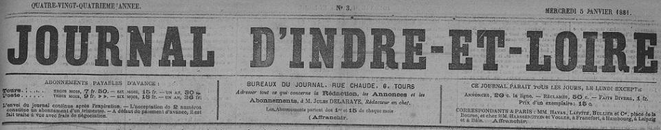Photo (Indre-et-Loire. Archives départementales) de : Journal d'Indre-et-Loire. Tours: Mame, 1798-1926. ISSN 2025-1874.