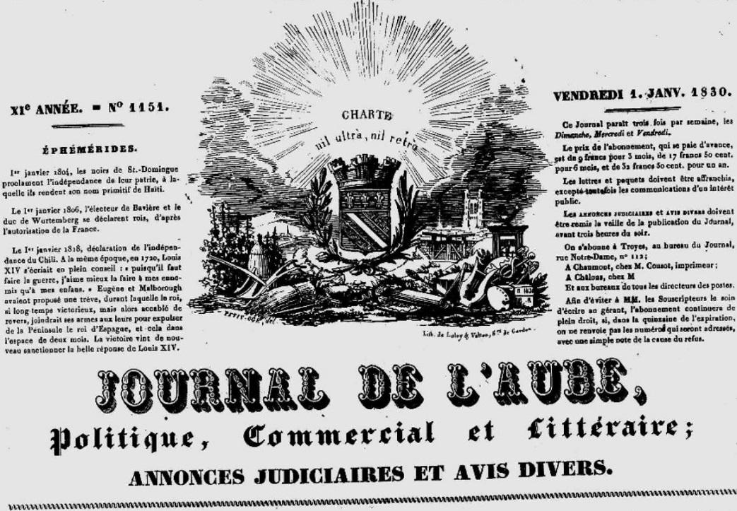Photo (Aube. Archives départementales) de : Journal de l'Aube. Troyes: Bouquot, 1830-1839. ISSN 2106-2129.