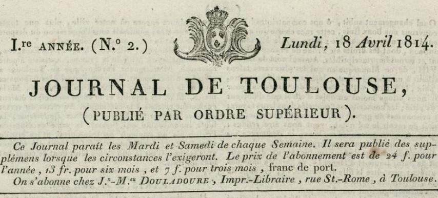 Photo (BnF / Gallica) de : Journal de Toulouse. Toulouse, 1814-1815. ISSN 1261-5730.
