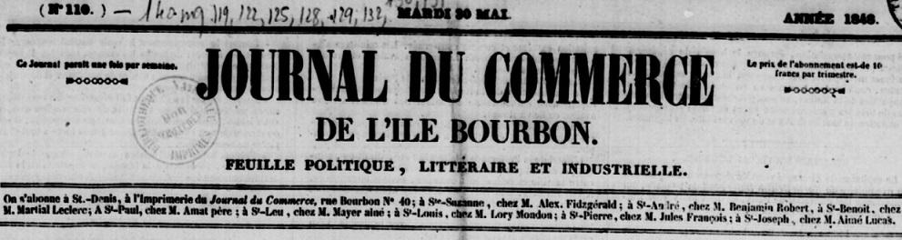 Photo (BnF / Gallica) de : Journal du commerce de l'île Bourbon. Saint-Denis [La Réunion], 1846-[1883 ?]. ISSN 2428-5153.