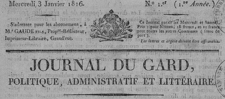 Photo (BnF / Gallica) de : Journal du Gard. Nismes, 1816-[1831 ?]. ISSN 2130-8829.