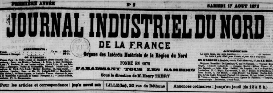 Photo (BnF / Gallica) de : Journal industriel du Nord de la France. Lille, 1872-1874. ISSN 2130-9566.