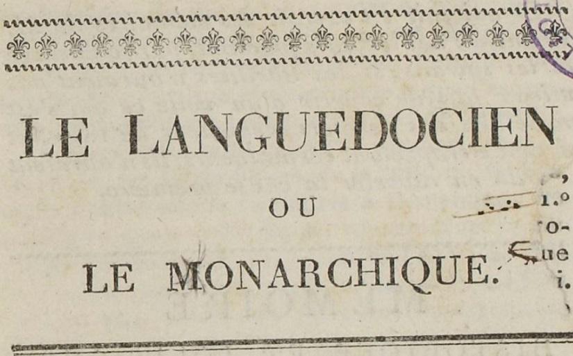 Photo (BnF / Gallica) de : Le Languedocien ou le Monarchique. Montpellier, 1819. ISSN 2131-1358.