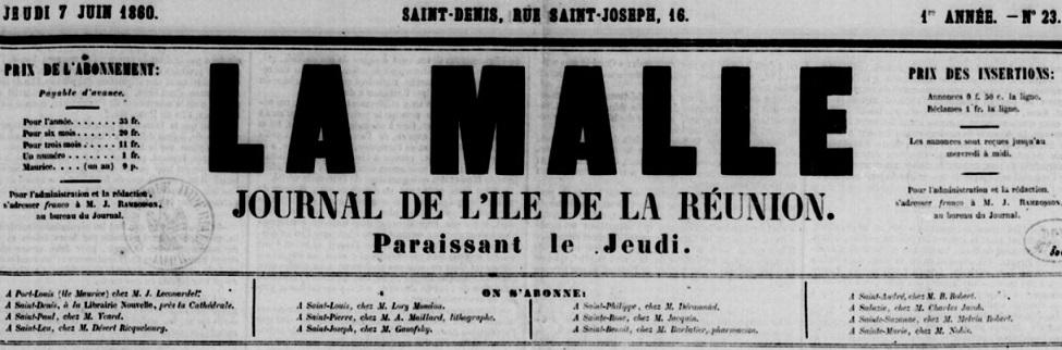 Photo (BnF / Gallica) de : La Malle. Saint-Denis, 1860-[1886?]. ISSN 2428-5420.