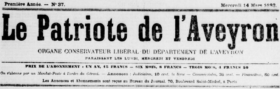 Photo (BnF / Gallica) de : Le Patriote de l'Aveyron. Paris, 1883-1884. ISSN 2133-6911.