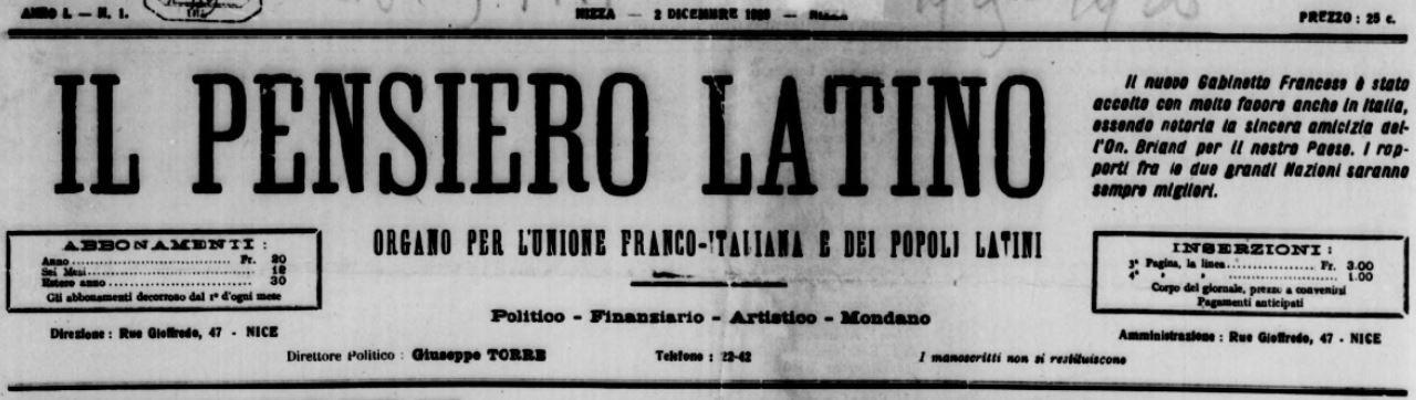 Photo (BnF / Gallica) de : Il Pensiero latino. Nizza, 1925-[1927 ?]. ISSN 2133-8736.