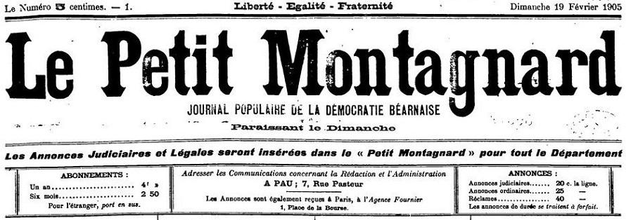 Photo (BnF / Gallica) de : Le Petit montagnard. Pau, 1905-1906. ISSN 2017-9006.