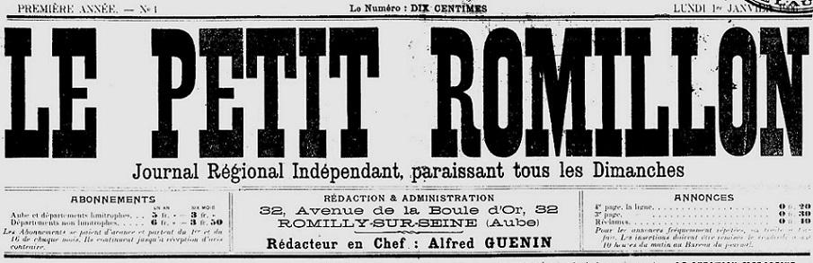 Photo (Aube. Archives départementales) de : Le Petit Romillon. Romilly-sur-Seine, 1906-1913. ISSN 2262-9114.