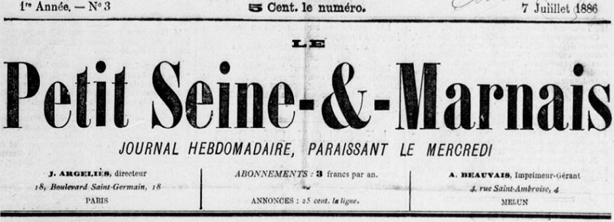 Photo (BnF / Gallica) de : Le Petit Seine-et-Marnais. Paris, 1886. ISSN 2134-4701.
