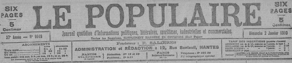 Photo (Loire-Atlantique. Archives départementales) de : Le Populaire. Nantes, 1874-1939. ISSN 2135-1198.
