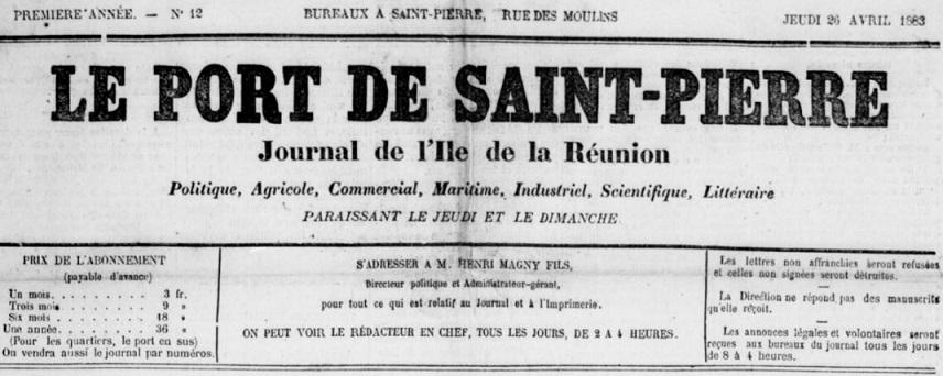 Photo (BnF / Gallica) de : Le Port de Saint-Pierre. Saint-Pierre, 1883-[1887 ?]. ISSN 2429-0025.