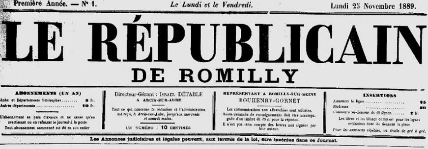 Photo (Aube. Archives départementales) de : Le Républicain de Romilly. Arcis-sur-Aube, 1889-1895. ISSN 2261-6721.