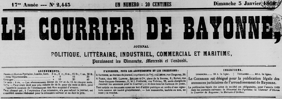 Photo (Bibliothèque municipale (Bayonne, Pyrénées-Atlantiques)) de : Le Courrier de Bayonne. Bayonne, 1852-1947. ISSN 0998-5352.